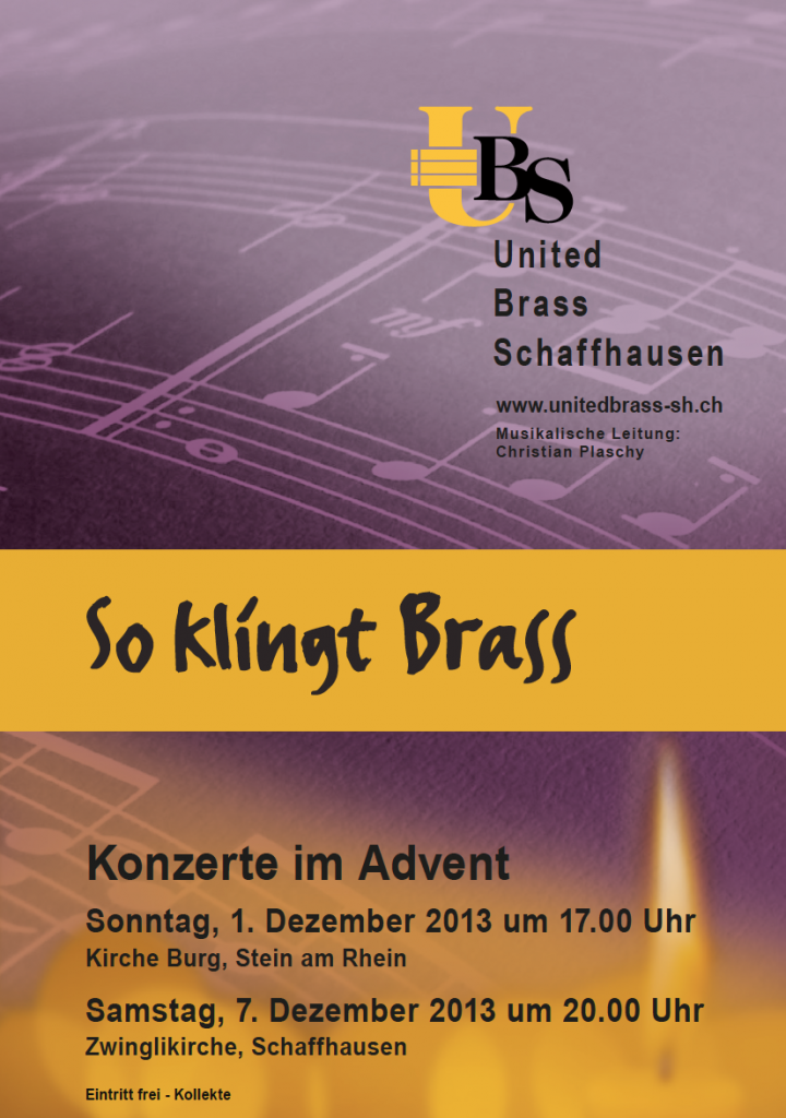 Konzertprogramm United Brass Schaffhausen Advent