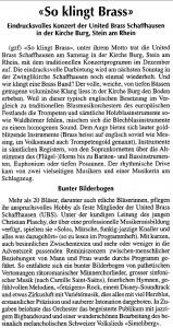 UBS Konzerte im Advent Stein am Rhein